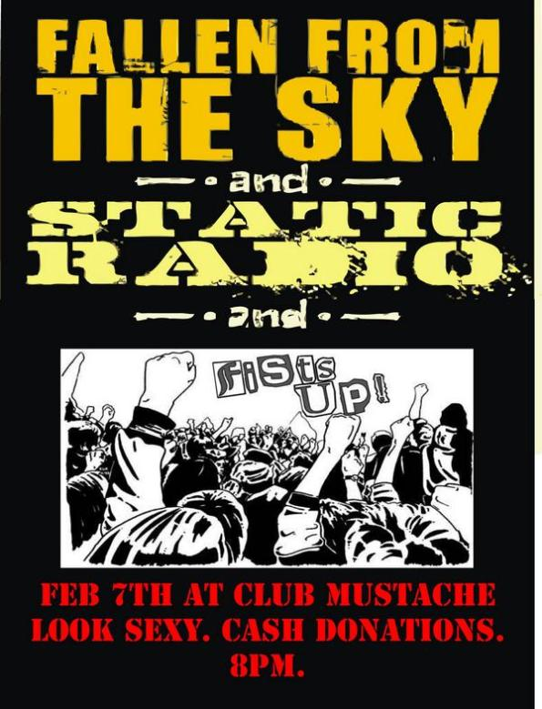 Club Mustache Flier - 02-07-09 - Fallen From The Sky - Static Radio