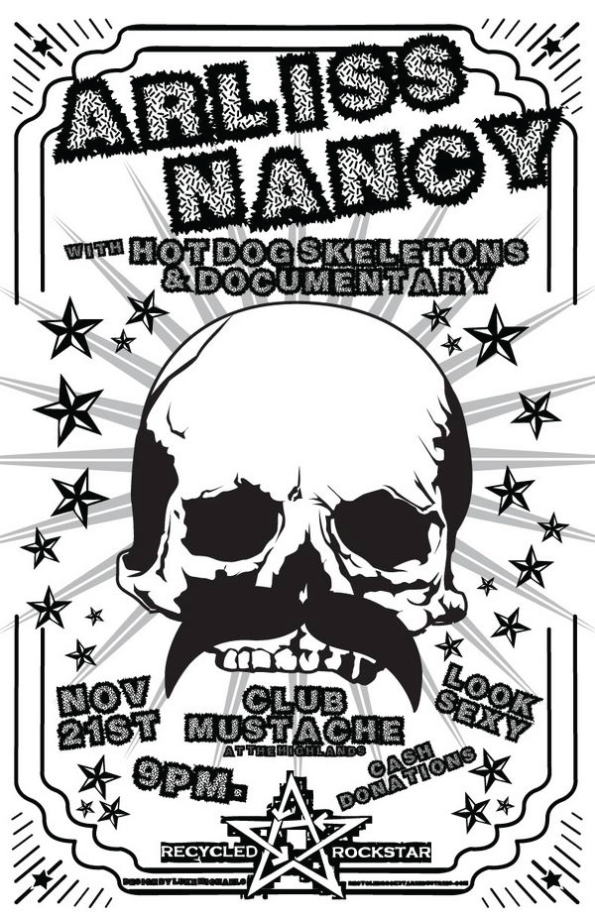 Club-Mustache-Flier---11-21-10---Arliss-Nancy---Hot-Dog-Skeletons---Documentary