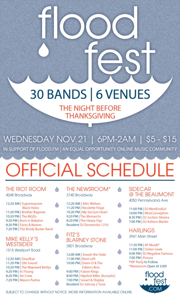 FLOOD FEST 2012 KANSAS CITY MUSIC FESTIVAL SCHEDULE FREE VIP PASSES
